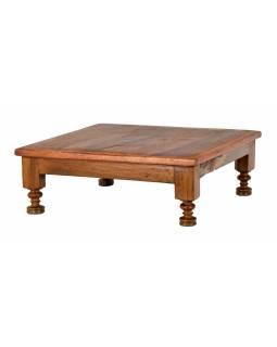 Starý čajový stolek z teakového dřeva, 59x59x21cm