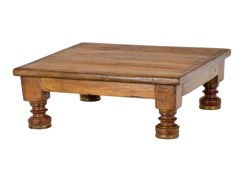 Starý čajový stolek z teakového dřeva, 51x51x18cm