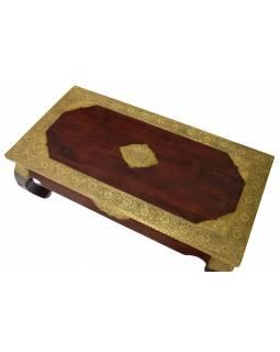 Opiový stolek z palisandrového dřeva zdobený kováním, 120x60x46cm