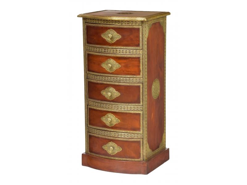 Komoda z palisandrového dřeva s mosazným kováním a šuplíky, 45x40x95cm