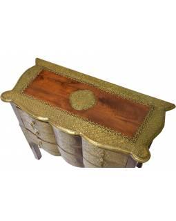 Komoda z palisandrového dřeva zdobená mosazným kováním, 90x40x75cm