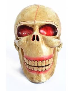 """Dřevěná hlava, """"Laughing Scull"""", okrová, malovaná, 27x17cm"""