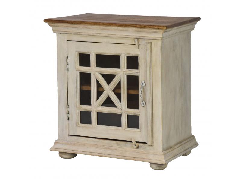 Komodka - noční stolek, prosklená dvířka, mango, 57x37x60cm