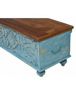 Truhla z mangového dřeva zdobená ručními řezbami, 180x43x45cm