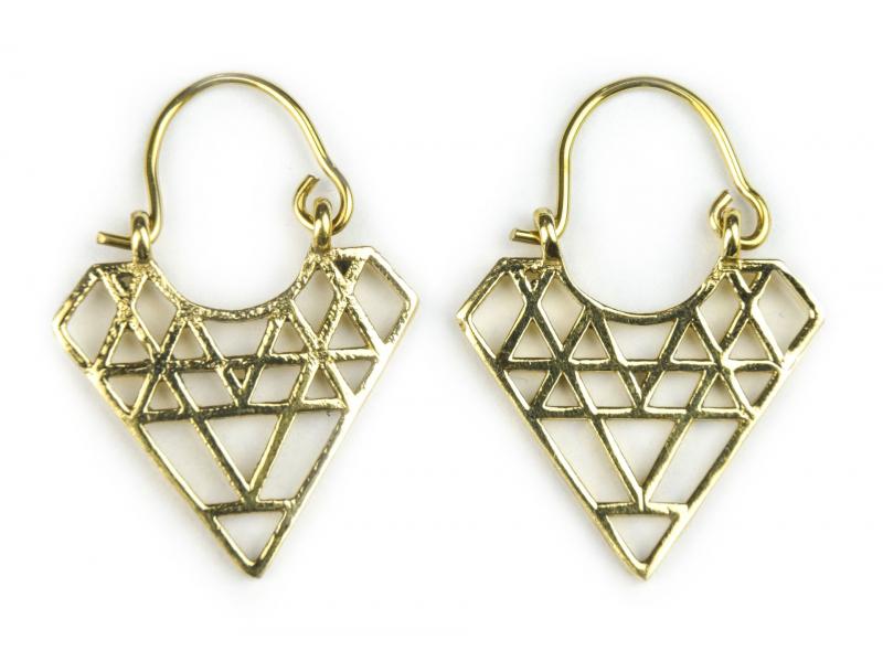Visací náušnice ve zlaté barvě, tvar Diamant, postříbřeno (10µm) 33mm