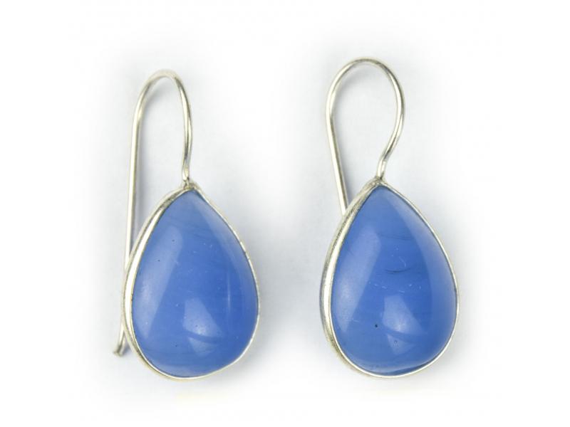 Náušnice s polodrahokamem, modrý onyx, tvar kapky postříbřeno (10µm) délka 28mm