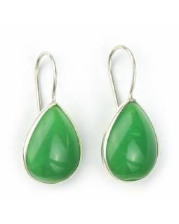 Náušnice s polodrahokamem, zelený onyx, tvar kapky postříbřeno (10µm) délka 29mm
