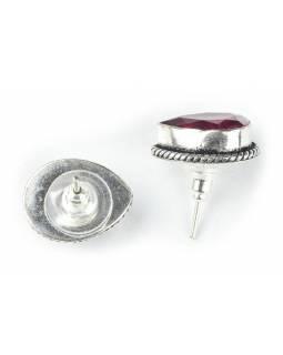 Náušnice s polodrahokamem rekonstruovaný broušený Rhodolit postříbřeno(10µm)17mm