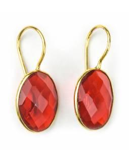 Náušnice vykládané barevným křišťálem červený, broušený, zlatá barva, 29mm