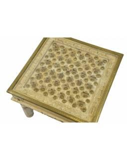 Stoleček z mangového dřeva, zdobený mosazným kováním, se sklem, 60x60x44cm