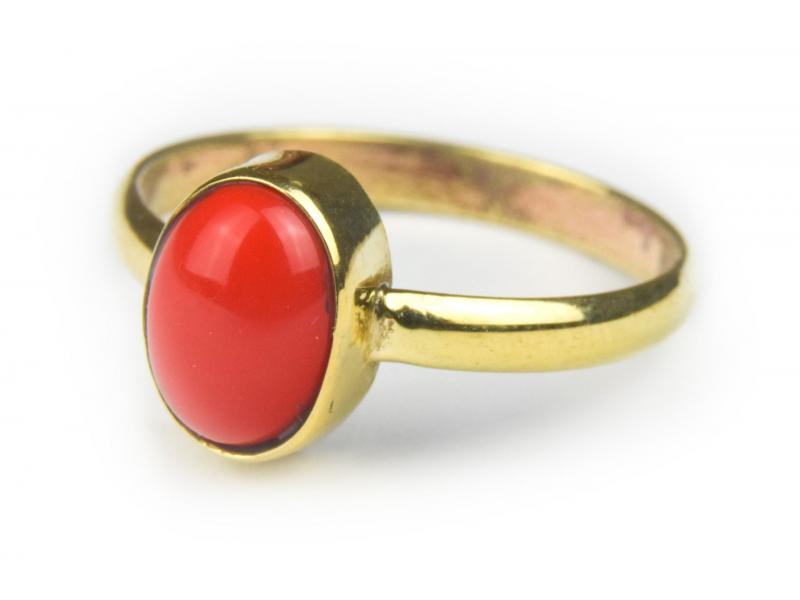Prsten vykládaný rekonstruovaným korálem, postříbřený (10µm)