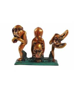 Tři zlaté opice, cca12*19cm, pryskiřice, Nepál