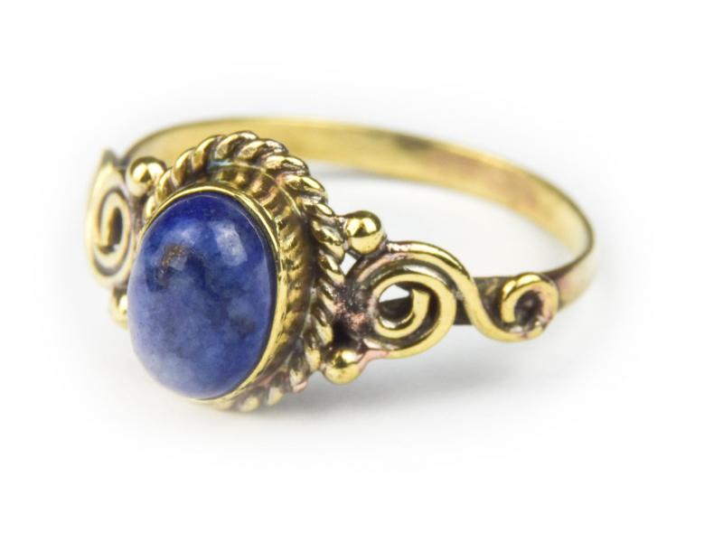 Prsten s polodrahokamem, lapis lazuli 8mm, zdobený, spirála, postříbřený (10µm)