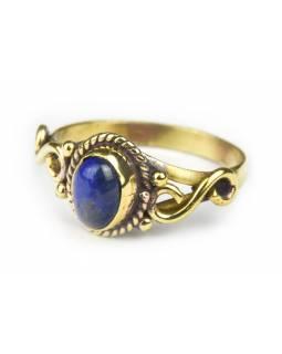 Prsten s polodrahokamem, lapis lazuli 8mm, zdobený, nekonečno, postříbřený(10µm)