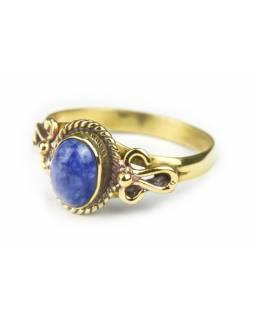 Prsten s polodrahokamem, lapis lazuli 8mm, zdobený, postříbřený (10µm)