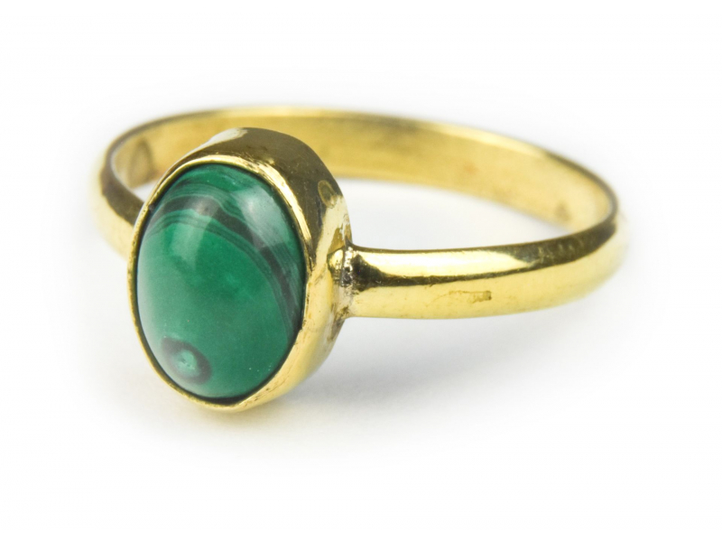 Prsten vykládaný malachitem, postříbřený (10µm)