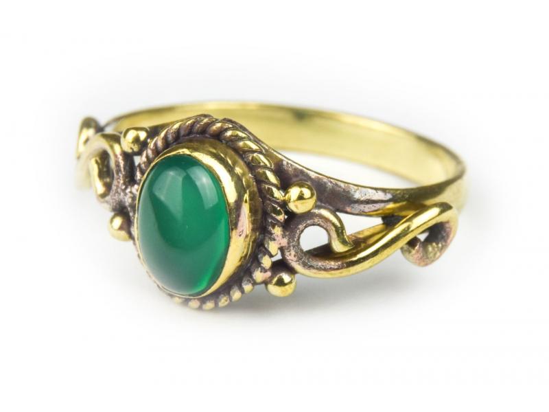 Prsten s polodrahokamem, zelený onyx 8mm, oválný, nekonečno, postříbřený (10µm)