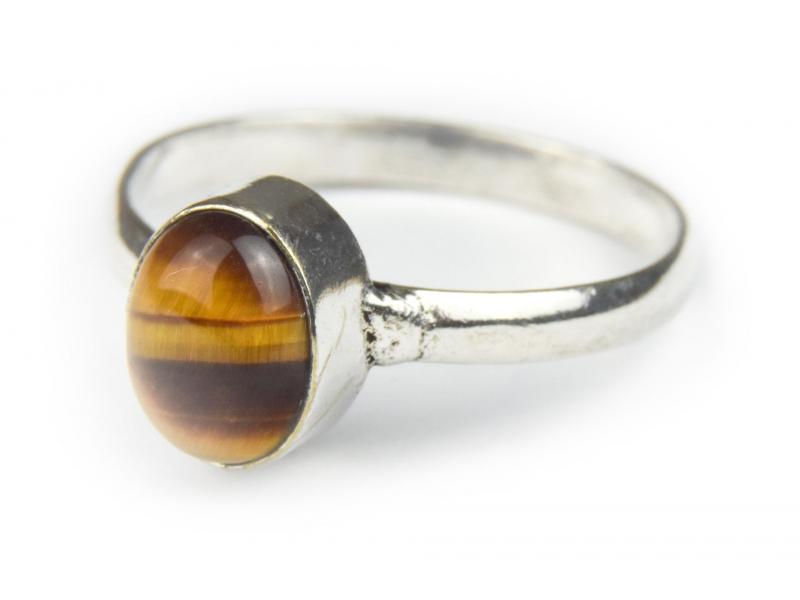 Prsten s polodrahokamem, tygří oko 9mm, postříbřený (10µm)
