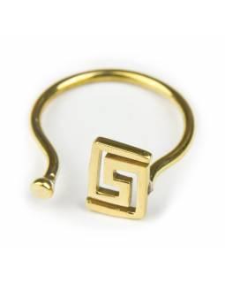 Prsten, hranatá spirála, otevřený, postříbřený (10µm)