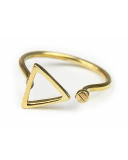 Prsten, trojúhelník, otevřený, postříbřený (10µm)