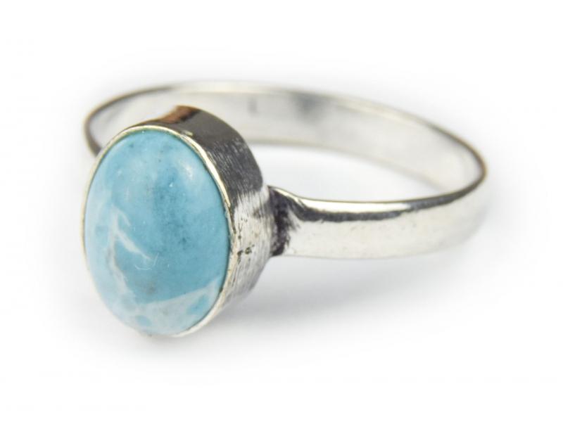 Prsten s polodrahokamem, amazonit 9mm, postříbřený (10µm)
