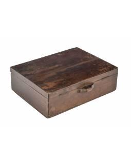 Starožitná truhlička z teakového dřeva, 35x27x12cm