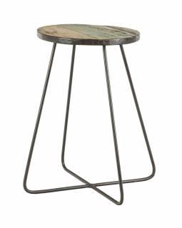 Stolička pod květinu z teakového dřeva, železné nohy, 31x31x48cm