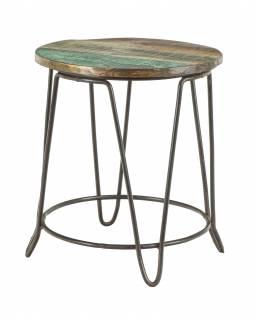 Stolička pod květinu z teakového dřeva, železné nohy, 38x38x42cm