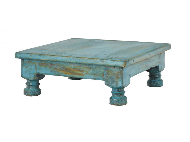 Starý čajový stolek z teakového dřeva, 42x41x15cm