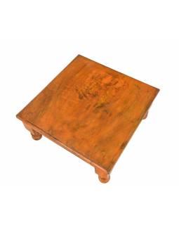 Starý čajový stolek z teakového dřeva, 45x45x19cm