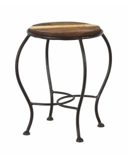 Stolička pod květinu z teakového dřeva, železné nohy, 27x27x39cm