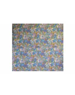 Světle modrý přehoz na postel s Paisley potiskem, ruční práce, prošívání,270x240