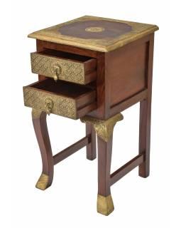 Květinový stolek, mosazné kování, palisandr, 40x40x75cm