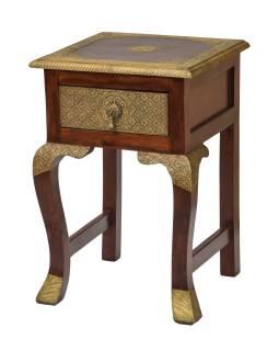 Květinový stolek, mosazné kování, palisandr, 40x40x59cm