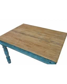 Jídelní stůl z teakového a mangového dřeva, ruční řezby, 120x90x79cm