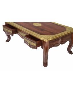 Konferenční stolek z palisandrového dřeva, mosazné kování, 120x70x45cm