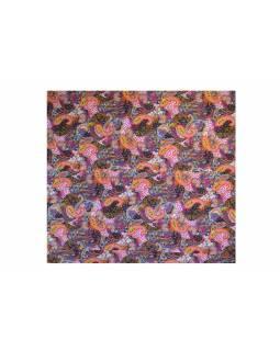 Černo růžový přehoz na postel s Paisley potiskem, ruční práce, prošívání,260x220