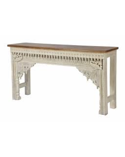 Konzolový stolek z mangového dřeva, bílá patina, 150x38x79cm
