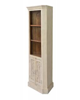 Rohová knihovna z mangového dřeva, ruční řezby, 78x48x180cm