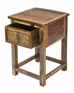 Noční stolek v Goa stylu, šuplík s reliéfy slonů, 40x40x60cm