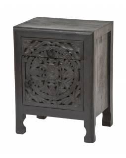 Noční stolek z mangového dřeva, černá patina, 45x34x60cm