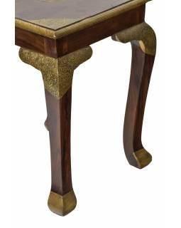 Stolička/stolek z palisandrového dřeva, mosazné kování, 40x40x52cm