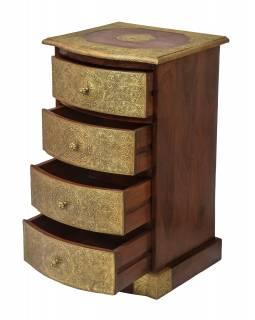 Komoda z palisandrového dřeva s mosazným kováním a šuplíky, 46x40x78cm
