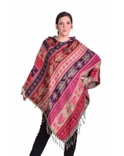 Barevné pončo s kapucí a třásněmi, vzor aztec, růžovo-béžové