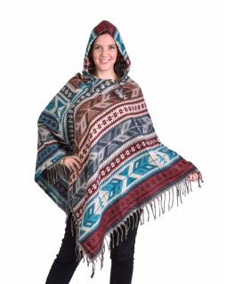 Barevné pončo s kapucí a třásněmi, vzor aztec, zeleno-béžové