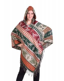 Barevné pončo s kapucí a třásněmi, vzor aztec, hnědo-béžové