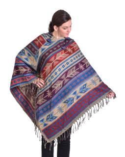 Barevné pončo s kapucí a třásněmi, vzor aztec, modro-béžové
