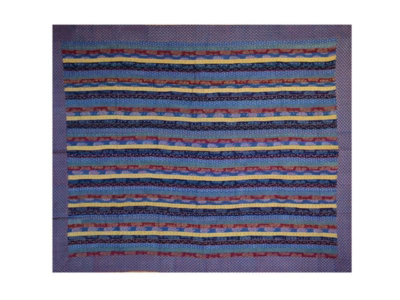 Tmavě modrý přehoz na postel, patchwork a potisk, ruční práce,prošívání, 260x220