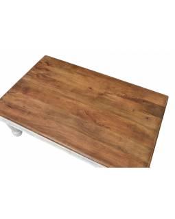 Konferenční stolek z mangového dřeva, ruční řezby, 120x75x45cm
