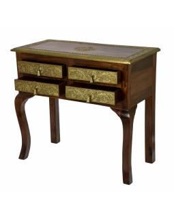 Stolek z palisandrového dřeva zdobený mosazným kováním, 70x30x73cm